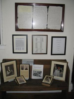 Wall display in St. James' Community History Center
