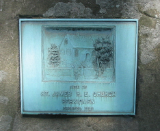 Plaque marking the location of the 1721 stone church