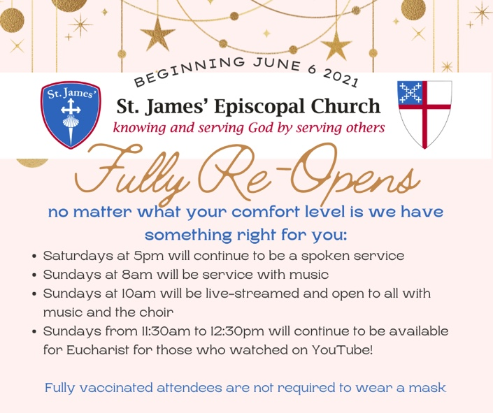 St. James' Re-Opens Announcement
